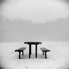 Picnic #1 (LowerDarnley) Tags: winter snow fog bench table ma holga picnic stoneham 120n autaut