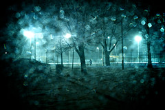 winter magic: a bokeh storm (n+s) Tags: trees winter snow toronto ontario canada storm cold tree ice window car highpark bokeh magic freezing scene f28 moisture solitaryfigure outdoorrink