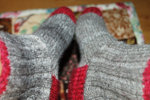Gray socks with red heal