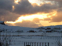 Snow and Sunset in Hvalba (House in Hvalba) Tags: houses winter sunset sky cloud snow clouds landscape faroeislands suðuroy hvalba