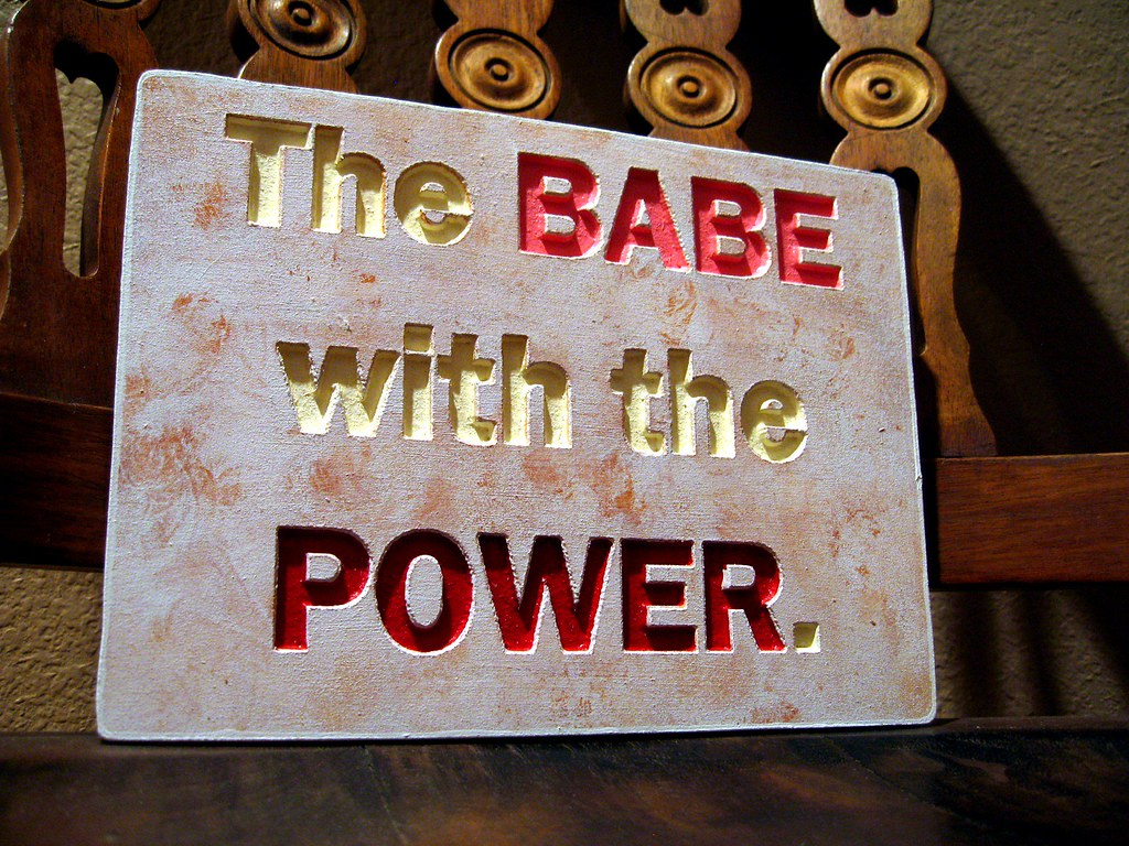 The BABE with the POWER Sign - Labyrinth - Handmade, Carved, Hand Painted, Reclaimed Wood
