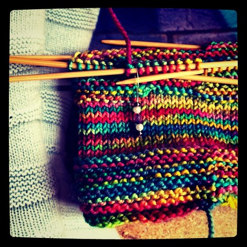 Work in progress: Rainbow socks for winter feet.