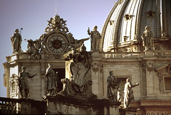 st peter's basilica - faade (Csbr) Tags: city travel winter italy sculpture vatican rome history film church architecture europe december catholic basilica capital saints slide scan christian dome m42 fujifilm marble pentacon renaissance apostles stpeter worldheritage 2010 200mm velviarvp voigtlanderbessaflex 4200mm gettyscreening