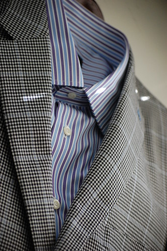 Men's Glen Plaid Sportcoat Blue and Purple Striped Shirt