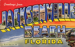 Greetings from Jacksonville Beach, Florida - Large Letter Postcard (Shook Photos) Tags: beach florida linen postcard postcards greetings linenpostcard jacksonvillebeach bigletter largeletter largeletterpostcard jacksonvillebeachflorida linenpostcards largeletterpostcards bigletterpostcard bigletterpostcards