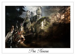 The Rescue (MC BAILY) Tags: bridge light horse castle water fairytale forest woods princess magic ruin fantasy knight moat armour charge