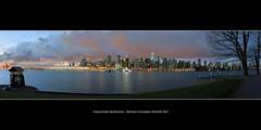 Vancouver Mornings (Sebastian (sibbiblue)) Tags: camera canada skyline vancouver sunrise harbor nikon wasser britishcolumbia tripod stanleypark nikkor dslr hafen canadaplace morningsky bilora nikond40 35mmafsdx 9oclockgun