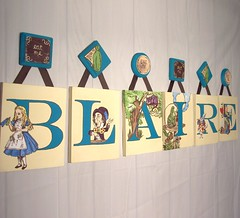 Alice In Wonderland Wall Art With Custom Wood Hangers (Painting it Personal) Tags: art painting shower monogram name letters wallart canvas gifts babyroom initials giftideas nurserytheme roomdecor nurserydecor giftguide nurserythemeideas