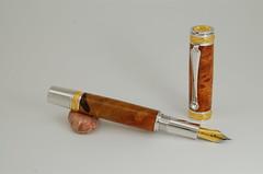 wood fountain pen gold crystal swarovski majestic burl rhodium afzelia