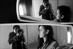 us in the mirror once more (gorbot.) Tags: barcelona blackandwhite bw selfportrait me hotel mirror raw reflected roberta raval barcelo dng f17 leicam8 digitalrangefinder ltmmount voigtlander35mmultronf17