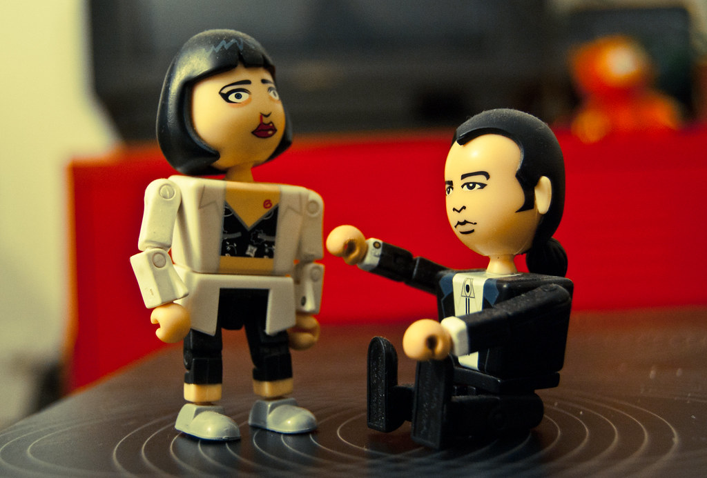 I believe these toys are called Kubrick's. These are Mia and Vincent from Pulp Fiction