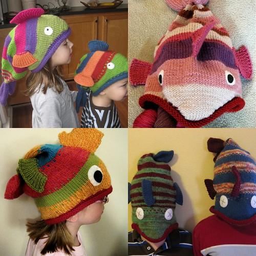 örgü balık çocuk şapkaları