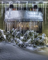 Icicle Window (PapaDunes) Tags: winter snow window night nighttime icicles hdr eastonma pub99 canon2470mmf28l bhphotocoldcontest