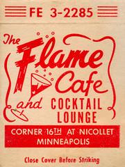 Flame Cafe (jericl cat) Tags: illustration vintage paper design cafe artwork lounge minneapolis martini bubbles ephemera cocktail flame cover mn matchbook nicollet