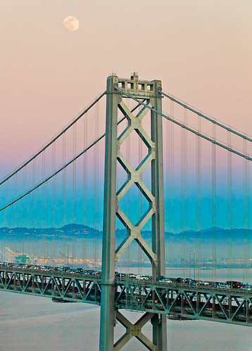 Day 17: I have a dream... Moon over the Bay Bridge, San Francisco