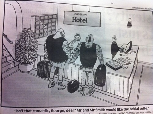 Daily mail cartoon about Christian B&B owners puts a swastika tattoo on a gay couple. #fb