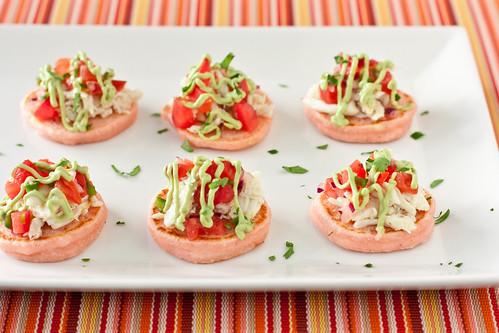 Pink Corn Blinis with Crab & Avocado Crema