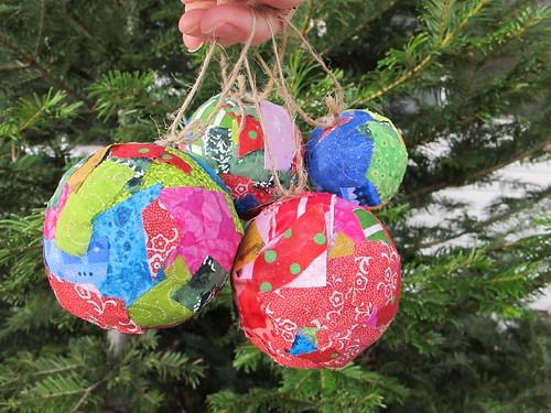 Bright cheerful fabric ornaments