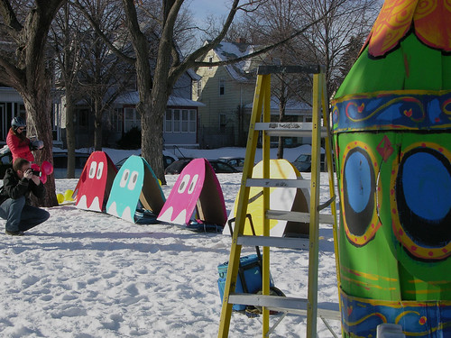 pac man and ghosts, and cartoon steam-punk sled