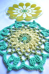 Crochet: The Bold & The Beautiful Placemats (Sewing Daisies) Tags: blue red orange green yellow crochet doily placemats croch hkeln ganchillo hkling sagaform juicyplates