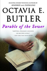 Parable of the Sower book cover: A photograph of hands holding a book