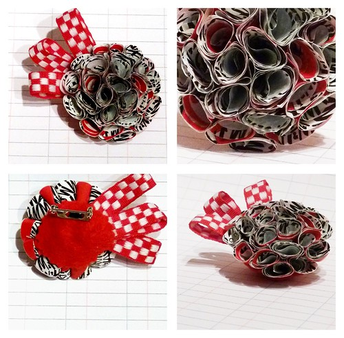 Recycled Plastic-bag brooch - Monochrome Dahlia