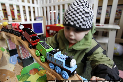 playing with thomas the tank engine on a train table @ frogpond toy store - MG 2806.JPG
