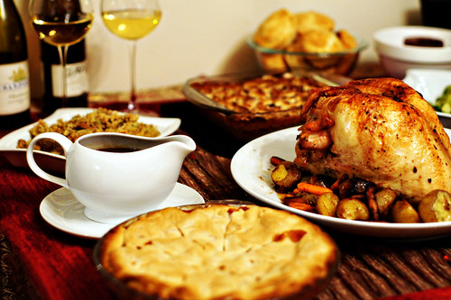Pie, Gravy, Stuffing, Wine, Turkey, Sweet Poratoes, Biscuits, Cranberry Sauce.
