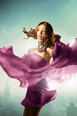 Spring Feeling III (ilina s) Tags: city blue portrait woman girl skyline stars happy dress purple dancing longhair twirl