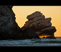 Sunset Sanctuary (TomGrubbe) Tags: ocean california sunset seascape birds gulls morrobay morro morrorock seastack