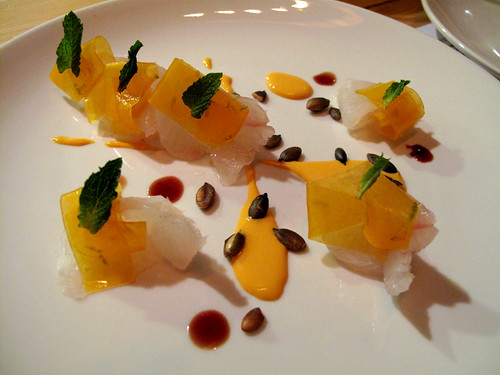 Ma Peche Fluke with Butternut Squash, Yogurt & Pepitas