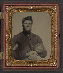 [Unidentified soldier in Union corporal's uniform holding Company B, 15th New Hampshire Volunteers kepi] (LOC) (The Library of Congress) Tags: usa infantry beard soldier unitedstatesofamerica union civilwar libraryofcongress yankee yankees corporal thenorth theunion americancivilwar warbetweenthestates uscivilwar newhampshirevolunteers thecivilwar xmlns:dc=httppurlorgdcelements11 dc:identifier=httphdllocgovlocpnpppmsca26864