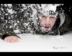 Day 120 - Fly, yes. Land, no. *Frontpage* (Daniel | rapturedmind.com) Tags: white selfportrait snow fall face fly crash slide land splash sled day120 fail inthesnow project365 365days strobist 120365 365tage landonface