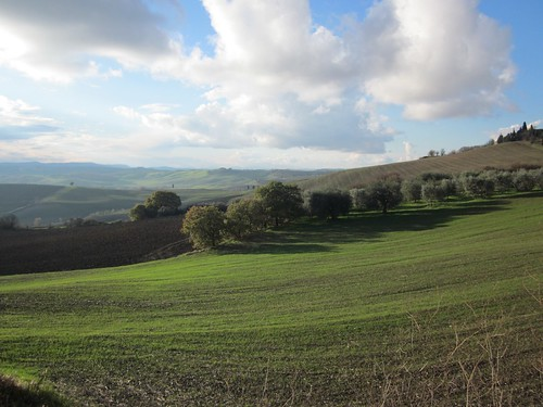 Riding down from Pienza