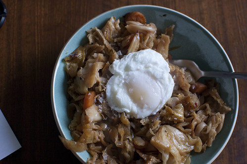 braised cabbage, egg