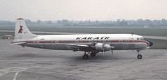 Manchester June 1978 Kar Air DC-6BF OH-KDAe (Proplinerman) Tags: manchester aircraft douglas airliner dc6 propliner karair dc6b ohkda pistonliner