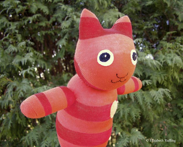 Orange and Red Striped Hug Me Sock Kitten by Elizabeth Ruffing