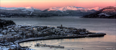 Gourock Bay (CU-Photography) Tags: panorama snow sunrise boats scotland riverclyde greenock argyll hills gourock inverclyde lylehill cardwellbay gourockbay kempockpoint craigusher gourockpier