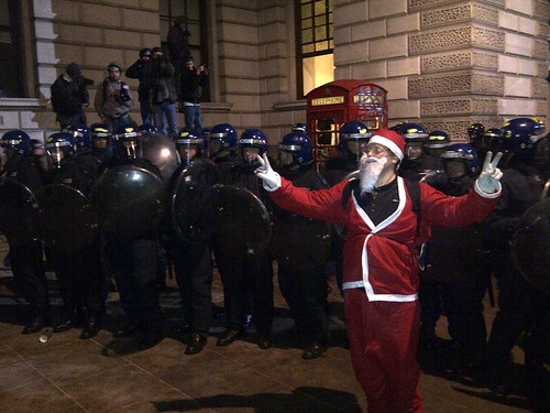 Father Christmas and the riot police