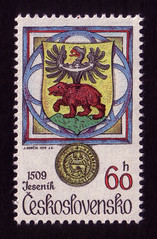 Arms of Jesenik, 1509 (oliver.tomas) Tags: bear art print typography graphicdesign heraldry czech eagle ephemera 1970s 1979 czechoslovakia slovak postagestamps ceskoslovensko jindraschmidt josefherčík