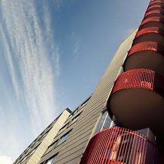 red balconies (baaasti) Tags: blue red sky building canon copenhagen denmark balconies 2470