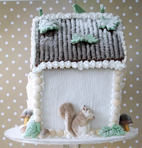 Side view of my Winter Woodland Gingerbread Bird House