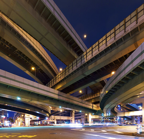 [フリー画像] 建築・建造物, 道路・線路, 夜景, 日本, 201012161900