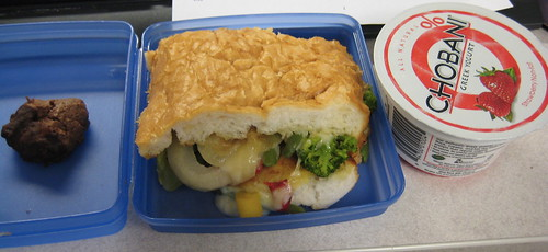 cookie, grilled veggie sandwich, strawberry chobani