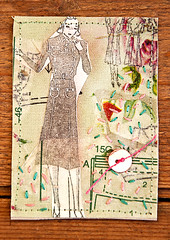 mixed media collage ATC (gunnels) Tags: atc collage vintage sweden embroidery mixedmedia buttons aceo 2010 textileart fabricart fabricpaper gunnelsvensson