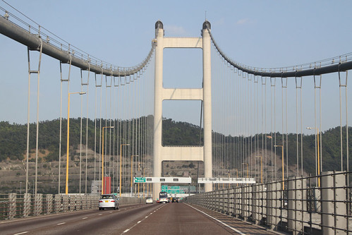 Eastbound on the Tsing Ma bridge