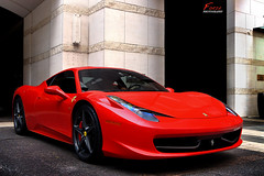 Ferrari 458 Italia (FORZA. Photography) Tags: red toronto canada black sports car dark italian sony wheels exotic rims spa rosso supercar yorkville corsa blackrims blackwheels worldcars dslra500