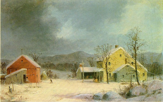 Yellow Farmhouse in Winter 1859
