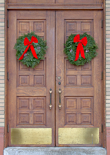 Our Lady of Sorrows Church, in Saint Louis, Missouri, USA - front door decorated for Christmas