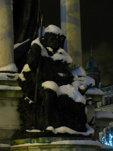Snow covered Canadian Voyageuer Statue